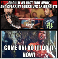 Funny, Love, and Memes: SHOULD WE JUST FADE AWAY  AND CLASSIFY OURSELVES AS OBSOLETE  STILL  REA  TO US  st 2213  COME ON!DO IT! DolT my reaction... wwe wwememes raw sdlive wrestling funny like follow share njpw roh love laugh haha memes jokes likes nxt dankmemes ig jeffhardy matthardy