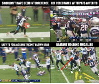 Jaguars get robbed? https://t.co/oRm30K1IFx: SHOULDN'T HAVE BEEN INTERFERENCE  REF CELEBRATES WITH PATS AFTER TD  @NFL MEMES  WHITE  20  JAX 14 NE 9 2ND 0:55 35 CBS SPORTS  EASY TD FOR JAGS MISTAKENLY BLOWN DEAD  BLATANT HOLDING UNCALLED  AFC CHAP  5t  JAX 20 4 NE 10 4TH 13:41 40 1ST & 10 Jaguars get robbed? https://t.co/oRm30K1IFx