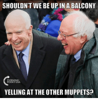 Lmao, Memes, and The Muppets: SHOULDN'T WE BE UPIN A BALCONY  TURNING  POINT USA  YELLING AT THE OTHER MUPPETS LMAO! 😂😂😂 #BigGovSucks