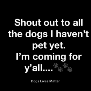shout out: Shout out to all  the dogs I haven't  pet yet.  I'm coming for  y'all....  Dogs Lives Matter