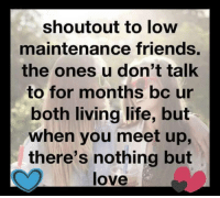 Friends, Life, and Love: shout out to low  maintenance friends.  the ones u don't talk  to for months bc ur  both living life, but  when you meet up,  there's nothing but  love The best kind of friends!