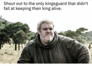 Alive, Fail, and King: Shout out to the only kingsguard that didn't  fail at keeping their king alive. https://t.co/ofpdL3uyG1