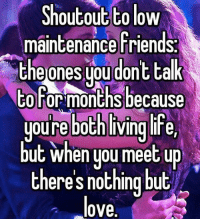 Friends, Love, and Memes: Shoutout to low  maintenance Friends.  the ones you dont talk  to Forsmonths because  youre both living line,  but when you meet up  theres nothing but  love Tag 'em.