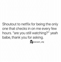 "Funny, Memes, and Netflix: Shoutout to netflix for being the only  one that checks in on me every few  hours. ""are you still watching?"" yeah  babe, thank you for asking.  @sarcasm_only SarcasmOnly"