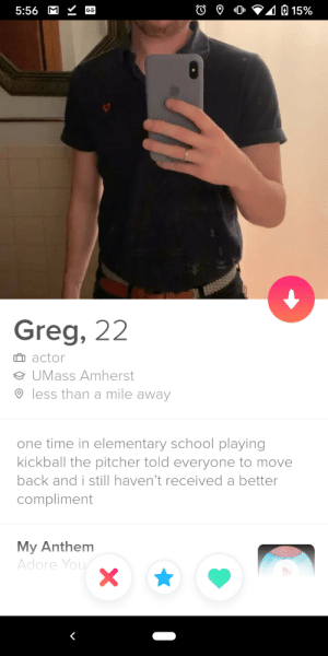 Shouts out to Greg for having the first bio to actually make me laugh out loud: Shouts out to Greg for having the first bio to actually make me laugh out loud