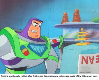 SHoW 41 SCENE 137  Buzz is emotionally rattled after finding out the emergency rations are made of the little green men Yes, they made a Buzz Lightyear cartoon