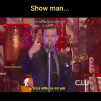 Instagram, Justin TImberlake, and Memes: Show man  wo reflections into one  Instagram @igmusical  ibral  THE  Dois reflexos em um Que letra! 💛 @igmusical Mirrors - Justin Timberlake De 2013 igmusicaloriginal JustinTimberlake igmusicalreb