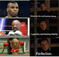 Boxing: Show me the real boxing champ  Vii  I said the real boxing champ..  Perfection,