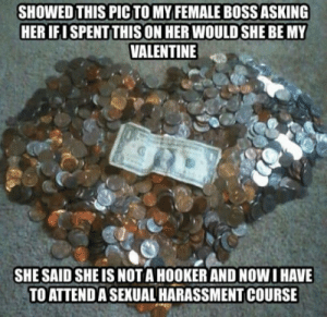 Hookers, Love, and Guess: SHOWED THIS PIC TO MY FEMALE BOSS ASKING  HER IFI SPENT THIS ON HER WOULD SHE BE MY  VALENTINE  SHE SAID SHE IS NOT A HOOKER AND NOW I HAVE  TO ATTEND A SEXUAL HARASSMENT COURSE I guess Ill just love myself