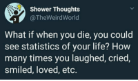 "9gag, How Many Times, and Life: Shower Thoughts  @TheWeirdWorld  What if when you die, you could  see statistics of your life? How  many times you laughed, cried,  smiled, loved, etc. <p><a href=""http://awesomacious.tumblr.com/post/171113423213/9gag-scroll-distance-954-billions-bananas"" class=""tumblr_blog"">awesomacious</a>:</p>  <blockquote><p>9gag scroll distance: 9.54 billions bananas</p></blockquote>"