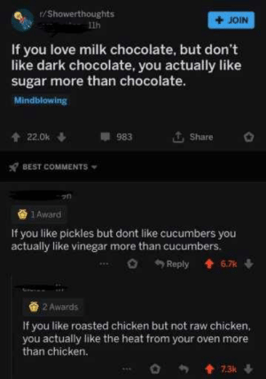Love, Memes, and Best: /Showerthoughts  + JOIN  1th  If you love milk chocolate, but don't  like dark chocolate, you actually like  sugar more than chocolate.  Mindblowing  Share  983  x7 BEST COMMENTS  1 Award  If you like pickles but dont like cucumbers you  actually like vinegar more than cucumbers  2 Awards  If you like roasted chicken but not raw chicken,  you actually like the heat from your oven more  than chicken Heyyy, how about that via /r/memes http://bit.ly/2M6n29Q