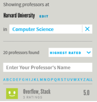 Harvard University, Computer, and Harvard: Showing professors at  Harvard University EDIT  in Computer Science  20 professors found HIGHEST RATEDV  Enter Your Professor's Name  ABCDEFGHIJKLMNOPQRSTUVWXYZALL  Overflow, Stack  3 RATINGS  5.0 I would like to bring attention to the fact that Stack Overflow is the highest rated CS professor at Harvard on RMP