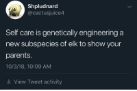 Parents, Engineering, and Irl: Shpludnard  @cactusjuice4  Self care is genetically engineering a  new subspecies of elk to show your  parents.  10/3/18, 10:09 AM  li View Tweet activity