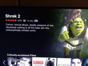 Django, Shrek, and To Kill a Mockingbird: Shrek 2  2004 U 1h 34m HD  Cancer, sexual abuse, deadly weapons of war:  Absolutely nothing is off the table with this  philosophically minded comic.  Critically-acclaimed Films  TO KILL A  MOCKINGBIRD  DJANGO  WITNESS