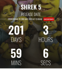 🔥🔥 or 💩💩: SHREK 5  RELEASE DATE  COUNTDOWN TO 3RD MAY 2019 AT 12:00AM  UNCONFIRMED  201 3  DAYS  HOURS  596  MINS  SECS 🔥🔥 or 💩💩