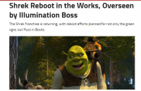 Help us stop Illumination from ruining Shrek and Mario by signing this petition: Shrek Reboot in the Works, Overseen  by Illumination Boss  The Shrek franchise is returning, with reboot efforts planned for not only the green  ogre, but Puss in Boots. Help us stop Illumination from ruining Shrek and Mario by signing this petition