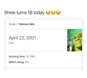 Welcome to adulthood Shrek! by SaucyAlphonse MORE MEMES: Shrek turns 18 today  Shrek Release date  SHRER  April 22, 2001  USA  Running time: 1h 35m  MPAA rating: PG Welcome to adulthood Shrek! by SaucyAlphonse MORE MEMES