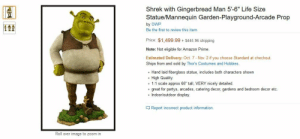 "Being Alone, Amazon, and Amazon Prime: Shrek with Gingerbread Man 5'-6"" Life Size  1E  Statue/Mannequin Garden-Playground-Arcade Prop  by OWP  Be the first to review this item  ET  Price: $1,499.99+ $445.96 shipping  Note: Not eligible for Amazon Prime  Estimated Delivery: Oct. 7 - Nov. 2 if you choose Standard at checkout.  Ships from and sold by Thor's Costumes and Hobbies.  Hand laid fiberglass statue, includes both characters shown  . High Quality  e 1:1 scale approx 66"" tall, VERY nicely detailed  .great for partys, arcades, catering decor, gardens and bedroom decor etc.  . Indoor/outdoor display.  Report incorrect product information.  Roll over image to zoom in tiny-gay-milk:  lucadoop:  scarlet-foxes-and-green-lions:  coffeecatartist:  coffeecatartist:  coffeecatartist:  coffeecatartist:  coffeecatartist:  coffeecatartist:  coffeecatartist:  coffeecatartist:  coffeecatartist:  coffeecatartist:  when I'm really old and have my own house one day, I'm going to save up to buy this thing and keep it in my front lawn for all to see some neighborhoods have the old cat lady, I'm gonna be the old Shrek lady  you are a guest at my house one day, I invite you in I then ask you to have a seat. but there are no chairs in my house there are only Shrek bean bags  I offer you a drink, you say water is fine I bring you the water in a Shrek 4-D tumbler cup  as you enjoy your drink, you begin to take in your surroundings you notice my walls are all covered in Shrek wall sticker decals  you comment that I must really like Shrek I say I don't know what you mean, as my dog who I've affectionately named Eclair in honor of Donkey's missing daughter, approaches she is wearing a cotton vest adorned with the classic Shrek logo  on one of the Shrek bean bags at the far end of the room, naps my cat he too is adorned with stylish Shrek-themed apparel  I ask if you are hungry you say you kinda had a small breakfast and could eat I make my way over to a nearby bookshelf and from it, I take down the official Shrek cook book from which I prompt you to choose a recipe of your liking  the food has been eaten and you ask to use the restroom I politely direct you to its location then let you make your way alone in my bathroom you see my Shrek lip balm, Shrek face mask, Shrek perfumes you glances behind my Shrek shower curtain to see my Shrek soaps and my Shrek sponges you begin to consider the possibility that I may have a ""problem"" you are wrong. I am perfectly fine. how dare you subconsciously insult me inside my own home. in my own bathroom. what the fuck  upon leaving the bathroom, you catch me watering my Shrek chia pet I am mentally noting that its growth is impressive secretly feeling overwhelmed by the impressive and not at all strange amount of Shrek themes in my home, you make up an excuse to try and leave you say it is getting late. I note aloud that I hadn't even noticed and look over at my Shrek clock to confirm I internally note that it's barely past noon and not actually that late at all but I don't say anything about this thought out of politeness to my guest I show you to the door and we exchange goodbyes as you are on your way out, you catch a glimpse of my Shrek car you wonder how you didn't notice it on the way in as you catch a glimpse of the back window Shrek decal it's of Donkey and he sort of looks as if he's waving at you you waved in response and then you wondered why you did that. it's a sticker a tiny, inanimate object, completely incapable of any sort of consciousness  I see that people keep reblogging this, but they're only reblogging a part of it up to the cook book bit I love you, but please appreciate my shitposts in their entirety  This will be me in the future. Get ready folks!  I stopped reading half way and just looked in awe   @milky-phan"