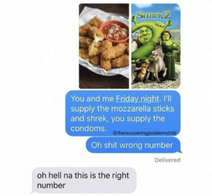 Oh hell: SHREK2  You and me Friday night. I'll  supply the mozzarella sticks  and shrek, you supply the  condoms.@therecoveringproblemchild  Oh shit wrong number  Delivered  oh hell na this is the right  number Oh hell