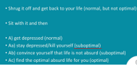 Life, Absurd, and Back: . Shrug it off and get back to your life (normal, but not optimal)  . Sit with it and then  . A) get depressed (normal)  . Aa) stay depressed/kill yourself (suboptimal)  Ab) convince yourself that life is not absurd (suboptimal)  . Ac) find the optimal absurd life for you (optimal)