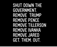Jared, Trump, and Government: SHUT DOWN THE  GOVERNMENT  REMOVE TRUMP  REMOVE PENCE  REMOVE TILLERSON  REMOVE IVANKA  REMOVE JARED  GET THEM. OUT Impeach Trump, Impeach Pence, Keep Impeaching