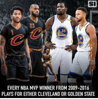 Fun Fact: Every NBA MVP winner from 2009-2016 plays for Cleveland or Golden State. 👀 (@sportsillustrated): SI  23  35  80  EVERY NBA MVP WINNER FROM 2009-2016  PLAYS FOR EITHER CLEVELAND OR GOLDEN STATE Fun Fact: Every NBA MVP winner from 2009-2016 plays for Cleveland or Golden State. 👀 (@sportsillustrated)