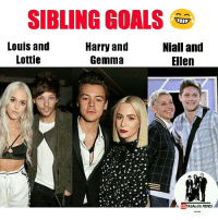 Ellen, Filipino (Language), and Harry: SIBLING GOALS  Louis and  Niall and  Harry and  Lottie  Gemma  Ellen  ID  MEMES HAHAHAHA! 😂😂😂  -1Diana xx