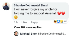 His uncle must really hate him https://t.co/TYUgIW0MVA: Siboniso Detrimental Shezi  I will never forgive my uncle for  forcing me to support Arsenal. VV  812  1h  Like  Reply  View 102 more replies  Michael Blom Siboniso Detrimental S.. His uncle must really hate him https://t.co/TYUgIW0MVA