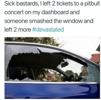 Pitbull, Dank Memes, and Sick: Sick bastards, I left 2 tickets to a pitbull  concert on my dashboard and  someone smashed the window and  left 2 more