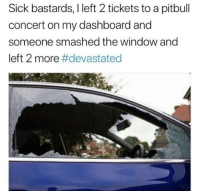 Pitbull, Sick, and Dashboard: Sick bastards, I left 2 tickets to a pitbull  concert on my dashboard and  someone smashed the window and  left 2 more