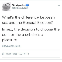Sickipedia  asickipediaNet  What's the difference between  sex and the General Election?  In sex, the decision to choose the  cunt or the arsehole is a  pleasure  08/06/2017, 19:18  Ili VIEW TWEET ACTIVITY sickipedia