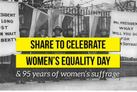 95 years ago today, women's right to vote became law. SHARE to celebrate #WomensEqualityDay!: SIDENT  LONG  ST  N WAIT  BERTY  MR.PRESIDEN  WHAT  WILL YOU DO  FOR  N SUFFRAG  WOMEN'S EQUALITY DAY  & 95 years of women's suffrage 95 years ago today, women's right to vote became law. SHARE to celebrate #WomensEqualityDay!