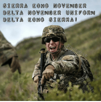 Funny, Meme, and Memes: SIERRA EOHO NO VEMBER  DELTA NOVEMBER UN FO RM  DELTA ECO SIERRA 0 How copy?!? . . . military militaryhumor militarymemes army navy airforce coastguard usa patriot veteran marines usmc airborne meme funny followme troops ArmedForces militarylife popsmoke