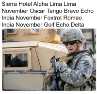 Memes, Bravo, and Delta: Sierra Hotel Alpha Lima Lima  November Oscar Tango Bravo Echo  India November Foxtrot Romeo  India November Golf Echo Delta #2A (LC)