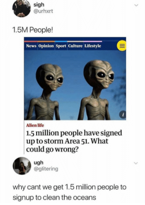 Hmmm.: sigh  @urhxrt  1.5M People!  News Opinion Sport Culture Lifestyle  i  Alien life  |1.5 million people have signed  up to storm Area 51. What  could go wrong?  ugh  @glitering  why cant we get 1.5 million people to  signup to clean the oceans Hmmm.