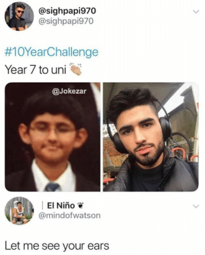 El Nino, Wonder, and Uni: @sighpapi970  @sighpapi970  #10YearChallenge  Year 7 to uni  @Jokezar  El Niño  @mindofwatson  Let me see your ears Wonder what they look like