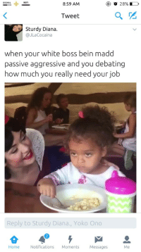 Blackpeopletwitter, Hair, and Home: SIGNAL  WIFI  8:59 AM  ) o 2896.  Tweet  Sturdy Diana.  @JLaCocaina  when your white boss bein madd  passive aggressive and you debating  how much you really need your job  Reply to Sturdy Diana., Yoko Ono  Home Notifications Moments Messages  Me <p>&ldquo;Can I touch your hair?&rdquo; 😪 (via /r/BlackPeopleTwitter)</p>