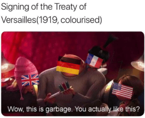 Signing the treaty of Versailles. (Circa 1919): Signing of the Treaty of  Versailles(1919, colourised)  Wow, this is garbage. You actually like this? Signing the treaty of Versailles. (Circa 1919)