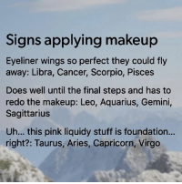 Makeup, Aquarius, and Aries: Signs applying makeup  Eyeliner wings so perfect they could fly  away: Libra, Cancer, Scorpio, Pisces  Does well until the final steps and has to  redo the makeup: Leo, Aquarius, Gemini,  Sagittarius  Uh... this pink liquidy stuff is foundation...  right?: Taurus, Aries, Capricorn, Virgo  oVi