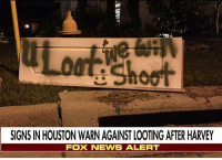 In Atascocita, Texas, Hurricane Harvey's victims are taking a firm stand against opportunistic visitors who might want to steal from residences as homeowners try to recover from the devastation. For more on this story, visit FoxNews.com.: SIGNS IN HOUSTON WARN AGAINST LOOTING AFTER HARVEY  FOX NENS ALERT In Atascocita, Texas, Hurricane Harvey's victims are taking a firm stand against opportunistic visitors who might want to steal from residences as homeowners try to recover from the devastation. For more on this story, visit FoxNews.com.