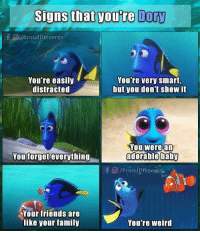 Signs that you're Dory  f O/ProudDisnerds  You re easily  distracted  You're very smart,  but you don't show it  ou were an  adorable baby  You forget everything  Your friends are  like your family  You're weird