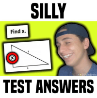 Memes, Test, and 🤖: SILLY  Find x.  f @GabeErwin  TEST ANSWERS what grade are you in? • follow me @gabeerwin for more • 👇🏻 TAG A FRIEND 👇🏻