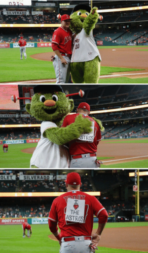 Sports, Angels, and Astros: SILVERADD  H-E  Ou  ORTS  TROS  OLET  SILVERADO  THE  ASTROS  ROOT SPORTS Houston Astros mascot trolls Mike Trout of the Angels.