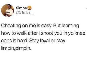 Cheating, Dank, and Memes: Simba  aS1mba  Cheating on me is easy. But learning  how to walk after i shoot you in yo knee  caps is hard. Stay loyal or stay  limpin,pimpin. Is pimping easy? by turkeyworm MORE MEMES