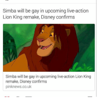 Lion King: Simba will be gay in upcoming live-action  Lion King remake, Disney confirms  Simba will be gay in upcoming live-action Lion King  remake, Disney confirms  pinknews.co.uk