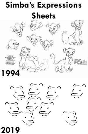 Expressions: Simba's Expressions  Sheets   The Lion King  Pult Model  Approva  1994   2019