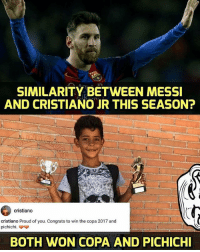 I'm done 😱😂 ... 🔹FREE FOOTBALL EMOJI'S --> LINK IN OUR BIO!!! ➡️Credit: RMRCS1902: SIMILARITY BETWEEN MESSI  AND CRISTIANO JR THIS SEASON?  cristiano  cristiano Proud of you. Congrats to win the copa 2017 and  BOTH WON COPA AND PICHICHI I'm done 😱😂 ... 🔹FREE FOOTBALL EMOJI'S --> LINK IN OUR BIO!!! ➡️Credit: RMRCS1902