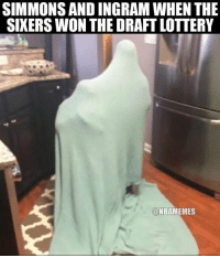 Nba, Ingram, and Draft: SIMMONSAND INGRAM WHEN THE  SIXERS WON THE DRAFT LOTTERY  NBAMEMES Maybe if they can't see me... Credit: Nathan Brewer