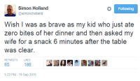 Zero, Brave, and Wife: Simon Holland  osimoncholland  Following  Wish I was as brave as my kid who just ate  zero bites of her dinner and then asked my  wife for a snack 6 minutes after the table  Was clear.  RETWEETS LIKES  186  5:22 PM - 14 Sep 2015 Bravery That cannot be obtained