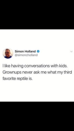 me irl by allhailmaster FOLLOW HERE 4 MORE MEMES.: Simon Holland  @simoncholland  T like having conversations with kids.  Grownups never ask me what my third  favorite reptile is. me irl by allhailmaster FOLLOW HERE 4 MORE MEMES.